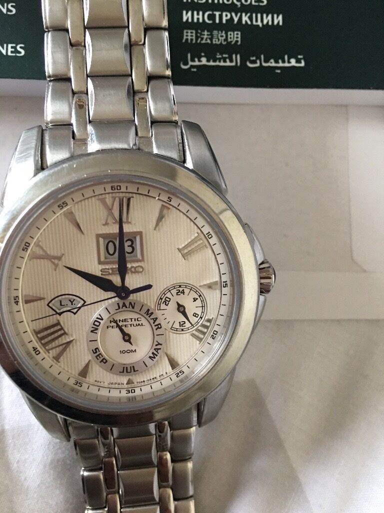 Seiko Kinetic watch with perpetual calendarin Knottingley, West YorkshireGumtree - Seiko perpetual calendar and Kinetic movement never needs winding up, charges on wrist, will swap Ono