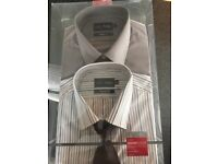 TWO NEW M&S Shirts and Tie - NEVER BEEN WORN still in original box
