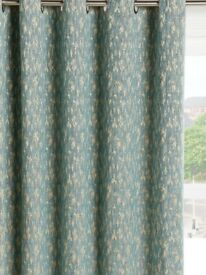 John Lewis Metallic Weave Pair Lined Eyelet Curtains, Blue
