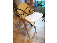 Wooden folding highchair, made by East Coast . high chair