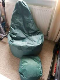 Waterproof beanbag chair and footstool