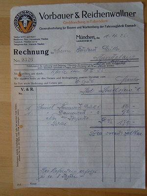 VORREICH München Fahrrad RECHNUNG 1925 Modell 1 Torpedo VORBAUER & REICHENHALLER
