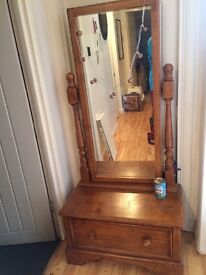 Solid Madagascan oak mirror unit with drawer