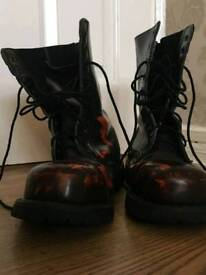 Grinders hunter black and red combat boots