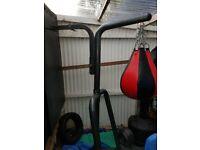 Bodymax punch bag stand with two punch bags.
