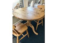 Lovely small pine dining table and 2 chairs