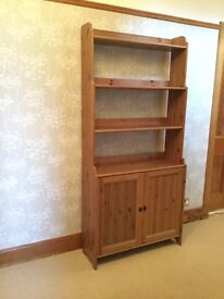 Tall Wooden Shelf Unit With Cupboard