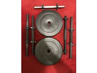 20KG (10+10) Weights Plate with Spin locks & 5 Metal Dumbbell bars *EXCELLENT CONDITION*