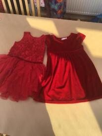 2 Red Dresses Worn Once 18-24 months