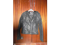 leather biker Jacket with hood ladies would fit a size 8 £6