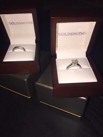 1.5 Carat Diamond Engagement Ring & Wedding Ring Set, White Gold.