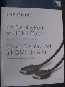 Insignia Display Port to HDMI Cable. Connect Desktop PC Computer Laptop Notebook to TV / Display Monitor. HD Video. NEW