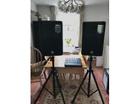 Full PA kit (used): 2xYamaha DBR12 speakers, 2xStagg speaker stands, Mackie ProFx12 mixing desk