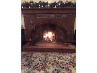 Traditional 1950 tiled fireplace with mantelpiece and hearth, dismantled, buyer to collect