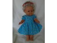 "VINTAGE BLONDE VINYL BABY DOLL 19"" MAY BE ZAPF? NEW PRETTY COTTON DRESS"