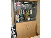 GREY/BEECH GLASS DISPLAY CABINET UNIT CUPBOARD TOP 1/2 GLASS BOTTOM 1/2 WOOD WITH LOCKABLE DOORS