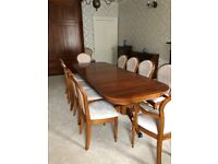 Willis and Gambier Lille extending pedestal dining room table and 10 chairs