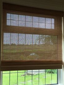 "5x CONSERVATORY BLINDS WICKER RATTAN LIGHT BROWN CREAM 6ft 58"" wide GOOD QUALITY"