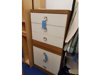 White Wood Topped Chest of Drawers
