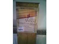 Window Blind - 'Jonelle Wood' (Blind1 - another set available) 1m width 160cm drop 25mm Natural