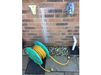 Hozelock garden hose with attachments, wall fixing & hose guide
