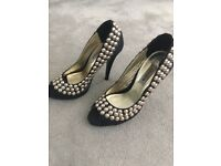 DUNE size 3 black shoes with gold studs