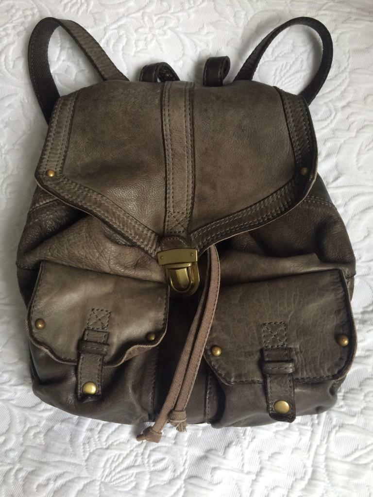 M&S grey leather rucksack