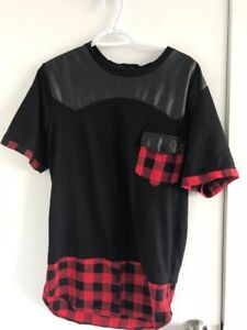 GETMEFLY black and red plaid print crew-neck