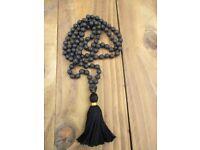 Lava Stone Mala / I Am Feeling Courageous Mala / Mala Beads 108 / Hand Knotted Mala / Bracelet