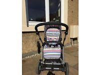 Mamas and Papas Sola Pushchair (Denim) and Carrycot (Black)