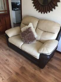 Leather Suite and Large Pouffe