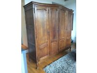 Four Door, Oak, French Armoire Wardrobe with Shelves
