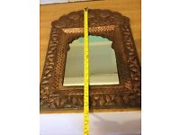 Lovely Antique Indian Hammered Brass Mirror