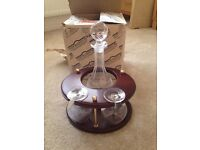 Crystal Decanter and 2 Brandy Glasses for sale