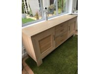 Sideboard Oak with brushed chrome handles 2 doors & 4 drawer