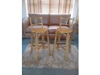 Vintage cane and rattan bar stools