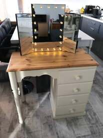 Pine/cream dressing table with battery operated light up mirror & Crystal Handles