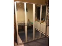 Mirrored wardrobe - double wardrobe with hanging space and shelf at top