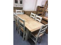 1.4m extending to 1.8m oak top farmhouse dining table