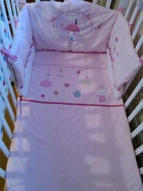 Mothercare baby girl cot/cotbed bedding set bumper & quilt vgc ml5