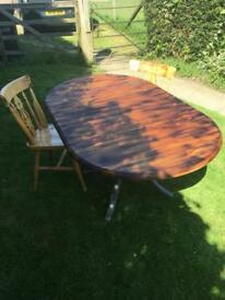 Beautiful Pine Drop Leaf Shabby Chic/Rustic Dining Table With Burned Finish & Two Chairs