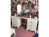 Dressing table and triple mirror solid pine hand painted cream