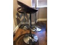 Glass Podium Bar Table with two Height Adjustable Bar Stools