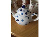 Emma Bridgewater Bicester Blue Polka 4 cup teapot