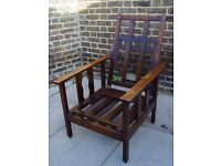 FREE DELIVERY Vintage Wooden Morris Reclining Armchair Furniture 9
