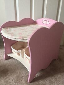 Baby Annabell Wooden Changing Unit With Storage Baskets and Mat