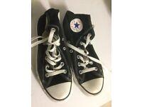 Black hi top converse trainers- uk 4