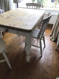 Laura Ashley painted Farmhouse table and 4 chairs
