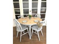 Pine table with 4 chairs free delivery Ldn shabby chic solid wood