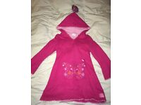Pink Wool BUTTERFLY designer dress s with tasseled hood & sequin pocket PARTY : 2 - 3 years